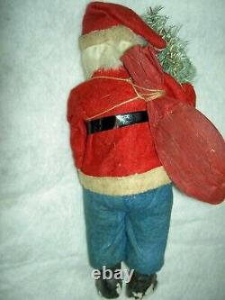 Large ANTIQUE German SANTA papermache candy container, labeled c. 1890 very good