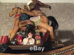 Large Christmas Rocking Horse With Santa Costco MIB Carved Wood Look