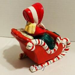 Lefton Christmas Shopper Girl Candy Cane Sleigh Two Reindeer Vintage 1956 Japan