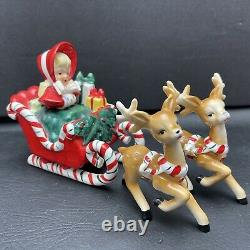 Lefton Christmas Shopper Girl with Santa Sleigh and Two Reindeer Vintage 1956