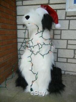 Lifesize Animated Christmas Sheep Dog Entangled In Lights Talks Sings Moves