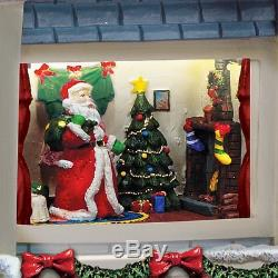 Lights & Sounds Was the Night Before Christmas House Statue Holiday Decor NEW