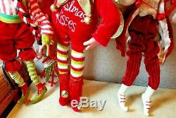 Lot of 4 Vintage Mark Roberts Christmas Elf Dolls 9 and 15Jester Fairies