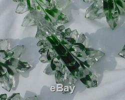 Lot of 8 Art Glass Evergreen Christmas Tree Green Clear Crystal 6 1/2 Tall