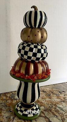 MACKENZIE CHILDS Tabletop Stacking Pumpkins 16 tall NEW in BOX