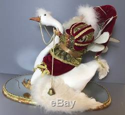 Mark Roberts Ornate Santa Sitting on a Swan Christmas Signed on Mirror Base 2004