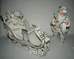 Member's Mark 2005 Porcelain Christmas Santa & Sleigh MIB