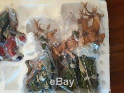 Member's Mark Santa Sleigh with Reindeers, MIB, Porcelain, Never Displayed