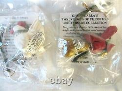 Miniature 12 Days of Christmas ornaments in box Denise Calla, House of Hatten