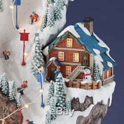 NEW LARGE Christmas 20 Winter Ski Light up Music Village Tower Train Musical