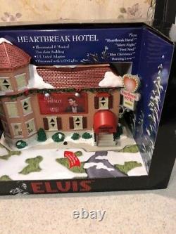 NEW RARE Christmas Elvis Presley Musical LED Heart Break Hotel Lighted Porcelain