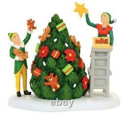 NEW RARE Dept 56, Buddy Decorating The Tree With Jovie, Elf the Movie, Village