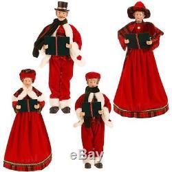 NEW Raz 18.5 Red Plaid Caroler Family Christmas Figure Decoration 3752989