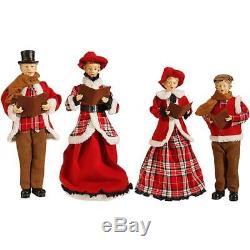 NEW Raz 18.5 Red and Brown Plaid Caroler Family Christmas Figures Decor 3700772
