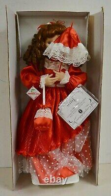 NEW Telco 1996 24 Animated Christmas MOTION-ettes Doll Red Dress Curly Brunette