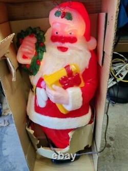 NOMA 30 Vintage Blow Mold Full Size Plastic Light Up Santa Claus # 33