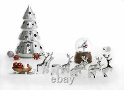 Nambe Christmas Ornament Set Minimalist Metal Miniature Reindeer Figurines 9 P