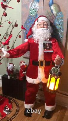 New LIFE SIZE 5 Ft SANTA CLAUS- sings, talks Christmas story & music, Lights NIB