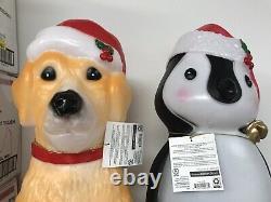 New Labrador Retriever Penguin Golden Lab Dog Puppy Blowmold Both Xmas Light 25