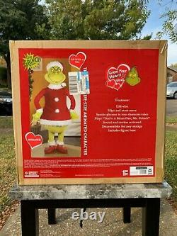 New! Life Size Animated GRINCH 5.74 Ft Christmas Prop SPEAKS GRINCH PHRASES