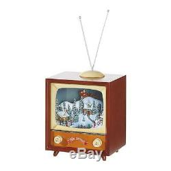 New Raz 15 Animated Musical Retro TV Television Village Scene Christmas Figure