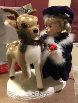 New Santa's Best Emily Animated Girl Pets Deer Motionette Holiday Figurine 1999
