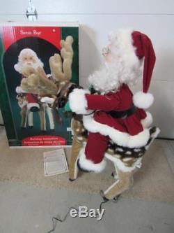 New Santa's Best Santa on Animated Reindeer Indoor Christmas Decoration