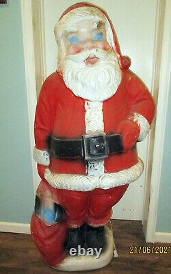 Nice Vintage 60 Lighted Blow Mold Christmas Santa Claus With Toy Bag
