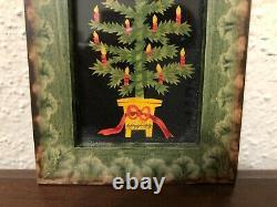 Original Claudia Hopf Folk Art Christmas Tree Framed 4 Signed 1991