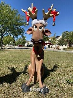 Pair 2qty Deer Reindeer Funny Sitting Statue Christmas Prop Life size Deer Bells