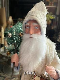 Paul Turner 14 paper mache white German Santa Handmade/Candy Container