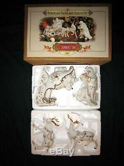 Porcelain Santa & Sleigh Set 2001 Grandeur Noel Christmas White & Gold with Box