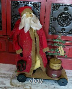 Primitive Santa Claus Doll on Cart Nesting Pantry Boxes Lighted Lantern Tree 26