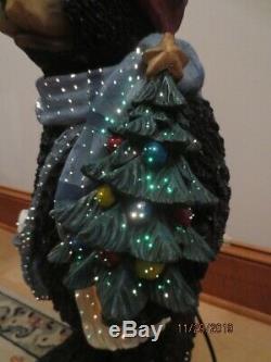 RARE 30 Puleo Fiber Optic Holiday Bear Resin Christmas Tree Greeter Cabin BOX
