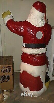 RARE Adorable Large Vintage Poloron Santa Blow Mold WORKS Almost Life-Size 5ft
