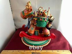 RARE Enesco Rocking Moving Reindeer & Toys Music Box SEE VIDEO