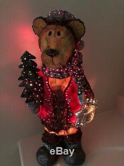 RARE Fiber Optic Colored Lights Christmas Bear Holding Tree In Box Extra Bulb