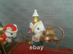 RARE NEW Enesco Santa's Luxury Roadster Mice MUlti-Action/Lights Music Box NIB