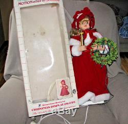 RARE TELCO 24 MOTION-ETTE CHRISTMAS VICTORIAN GIRL with RED VELVET DRESS