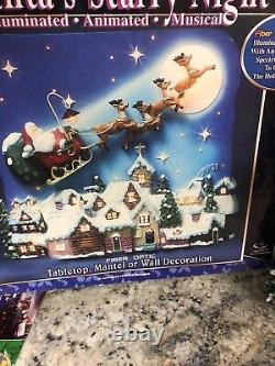 RARE Telco Motionettes Animated Santa SLEIGH LIGHT FIBER OPTIC Christmas Village