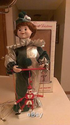Rare Vintage Animated Telco Motion-ette Christmas Elf Marionette Jester Clown