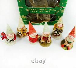 RARE Vintage CHRISTMAS 50's Japan SHINY BRITE MUSICAL DWARF BAND SET OF 6 #8650