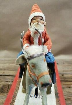 Rare 1900's Vintage Antique Rocking Santa on Reindeer 12 Long Pull Toy