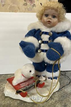 Rare 20 Vtg Santa's Best Animated Girl Snowsuit Doll Seal Sled Blonde Curly