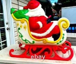 Rare Vintage Grand Venture Santa Sleigh Reindeer Blow Mold Yard Lightup Christma