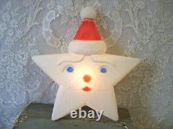 Rare Vintage Union Products Star Santa Face Light Up Blow Mold Works