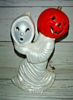Rare Vtg Ghost with Halloween Jack O Lantern Pumpkin Ceramic Light REVERSED HEADS