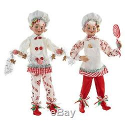 Raz Imports Kringle Candy Co. 16 Posable Elf Asst of 2 (White/Red)