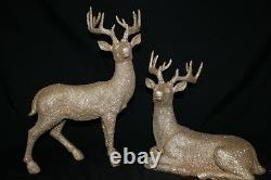 Reindeer Statue Deer Statue New Set/2 Gold Glitter Christmas 18.5 Raz Imports