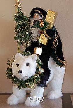 Retired $695 Mark Roberts Santa Claus on a Polar Bear. Exquisite detail. Mint
